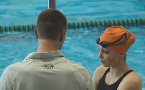 Image result for coach and swimmer talking