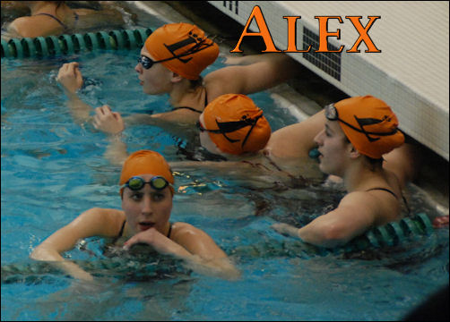 Alex in the pool with her team for warm ups.