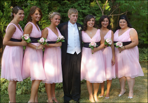 Cody with the bides maids.